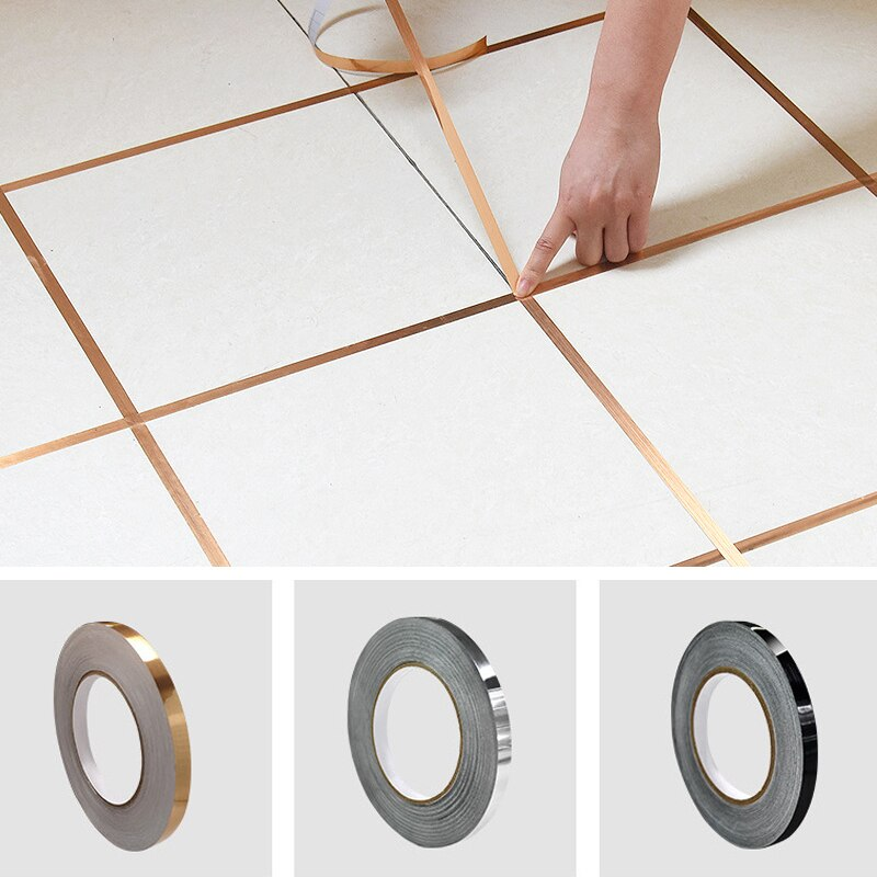 50m Tile Tape Self-Adhesive Floor Wall Seam Sealant Waterproof Wall Sealing Tape Adhesive Floor Tile Strip Seam Golden Silver