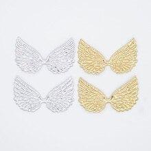 20 قطعة مزدوجة الوجهين الذهب والفضة القماش الملاك الجناح يزين بقع DIY بها بنفسك الحرف القوس دبوس الشعر ديكور بوتيك اكسسوارات G99