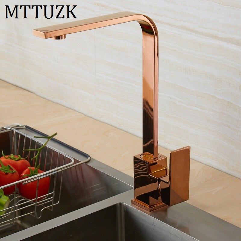 Escovado ouro quadrado torneira preto rosa ouro torneira da pia da cozinha 360 graus de rotação torneira da cozinha orb misturadora