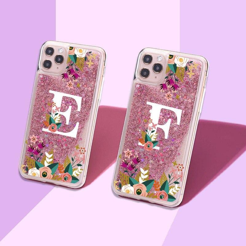 Funda para IPhone 11 Max Pro, con iniciales personalizadas, nombre A, Z, flor brillante líquida, purpurina Real, funda para IPhone 11 Max