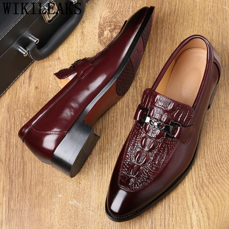 Crocodile Shoes Black Business Shoes Men Oxford Leather Suit Shoes Men Italian Formal Dress Sapato Social Masculino Mariage 2021