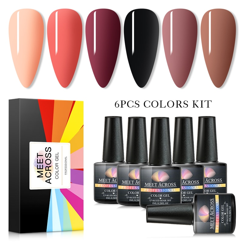 MEET ACROSS 6Pcs/Lot UV Gel Nail Polish Set 8ml Color Gel With Gift Box Long Lasting Soak Off Nail A