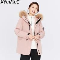ayunsue womens jacket winter 2020 90white duck down jakctes woman real raccoon fur collar hooded parkas female coat ropa tn245