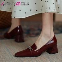 annymoli high heels women shoe square toe pumps chain chunky heel dress shoes fashion female footwear spring apricot big size 40