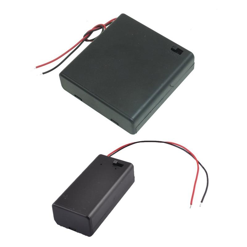 Interruptor de encendido/apagado de plástico 4x1,5 V carcasa portabeterías tipo AA con tapa negro y par SBH-9V pilas Switch funda porta baterías