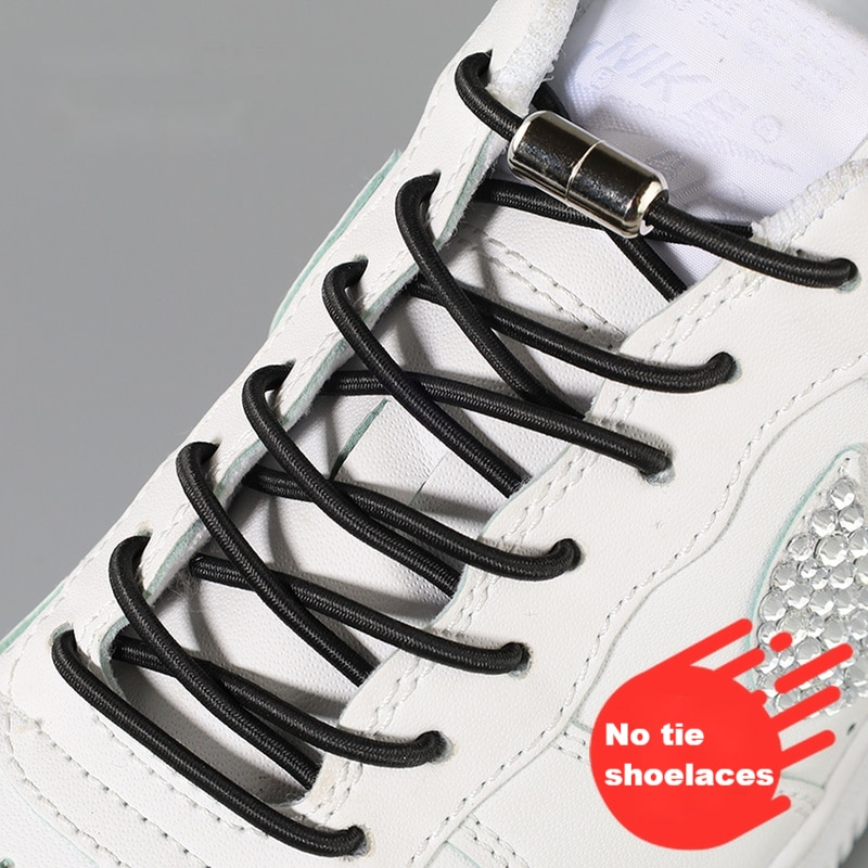 No Tie Shoe laces Shoes Round Shoelaces for Sneakers Rubber Elastic Laces without ties Kids Adult Quick Shoe lace Rubber Bands