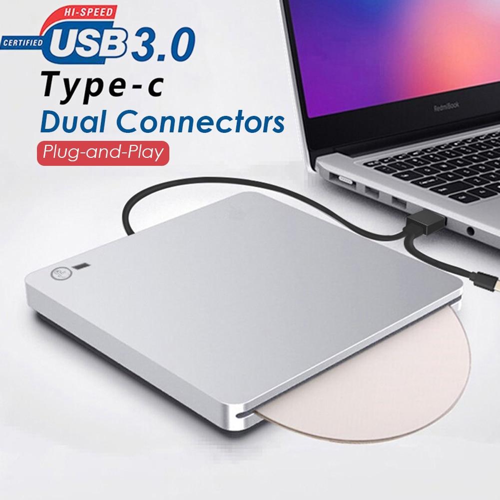 Queimador portátil do leitor do cd/dvd do azul-ray dos conectores duplos externos de usb 3.0/USB-C para o computador portátil windows xp/7/8 mac os