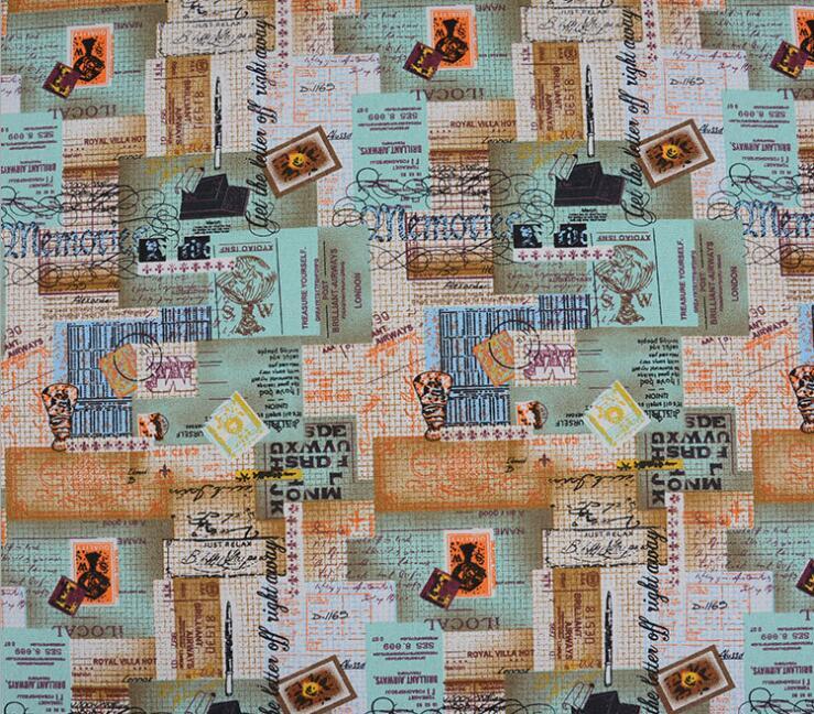 Sellos de viaje Retro, tela de lona impresa, tela de algodón, accesorios de costura DIY, Colección textil