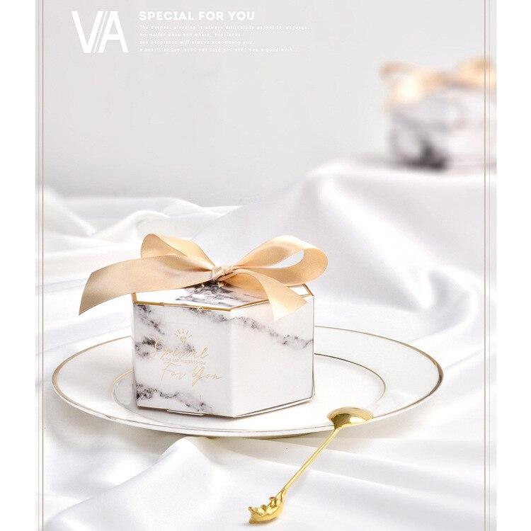 Caja de regalo de papel de mármol gris para bodas, 50 Uds.
