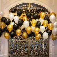 Латексные гелиевые шары, черные, золотые, белые жемчужные, 10 дюймов, 100 г, 50/1,5 шт.
