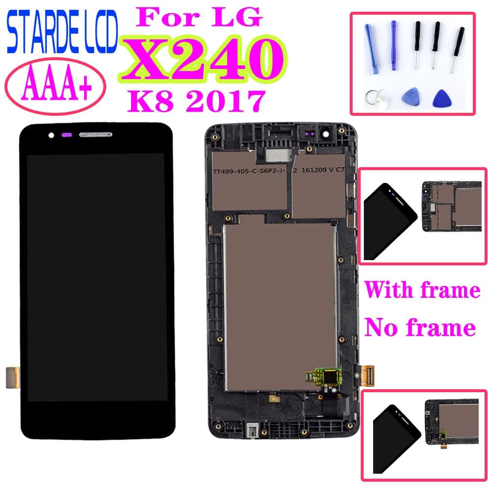 AAA + para LG K8 2017X240 H X240DSF X240 X240K LCD MONTAJE DE digitalizador con pantalla táctil con reemplazo de pantalla de Marco