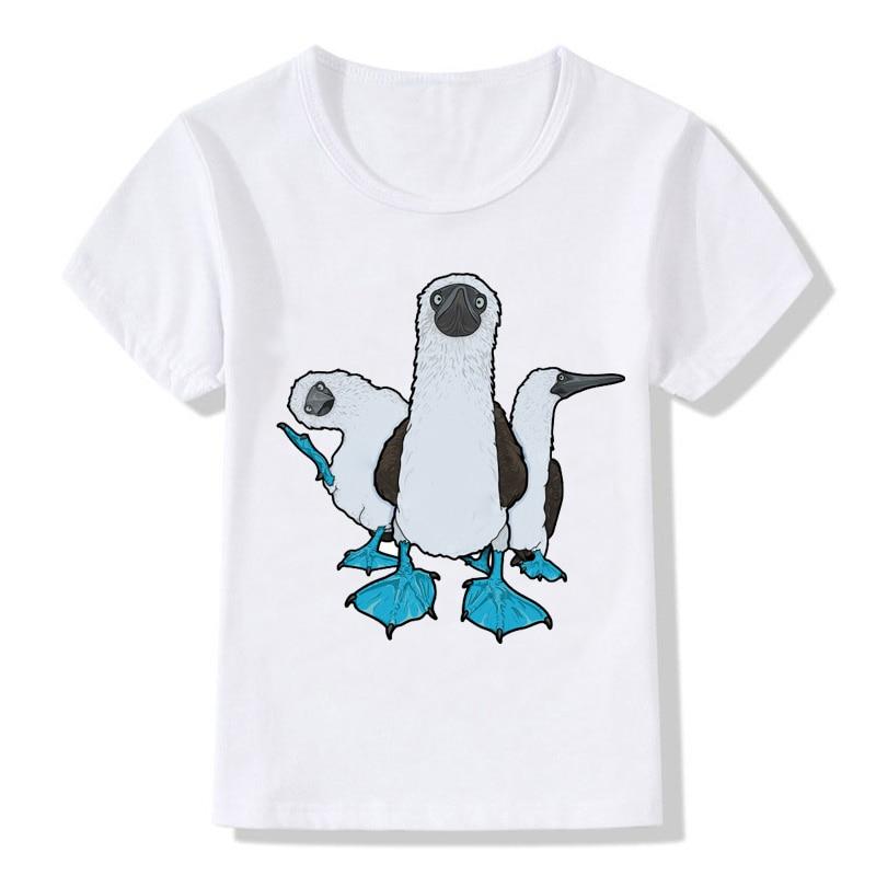 Camiseta de manga corta con cuello redondo y estampado de aves voladoras para niños