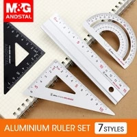 mg 4pcsset aluminium metal ruler set plastic geometry maths square drawing compass stationery angle rulers for school supplies