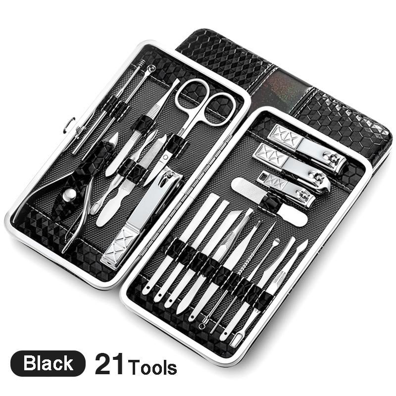 21 pcs Manicure Set kit Pedicure Scissor Tweezer Knife Ear pick Utility Nail Clipper Stainless steel Nail Care Tool Sets Upgrade