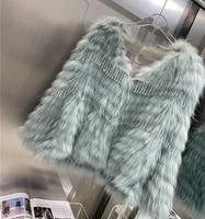 winter personality beaded fashion women real fur jacket female white raccoon fur strip tassel jacket