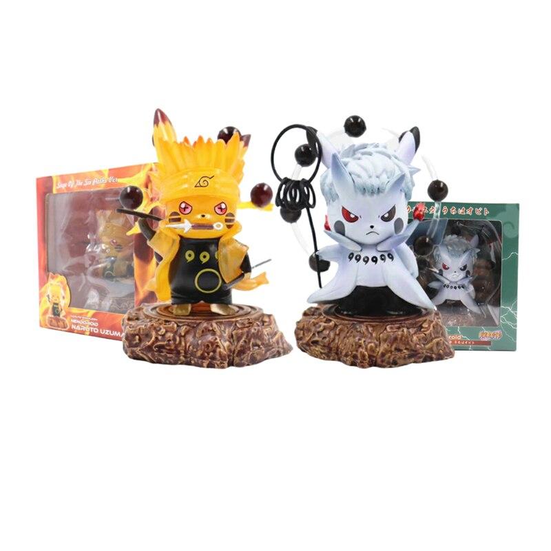 Figuras de anime pokemon pikachu naruto uzumaki uhciha obito cosplay brinquedos bonitos ação figma jogo pokemon presente para crianças modelo