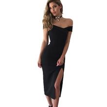 Summer Sexy Elegant Tube Top Word Collar Short Sleeve Solid Color Slim Black Dress Party Dress  Women Dress