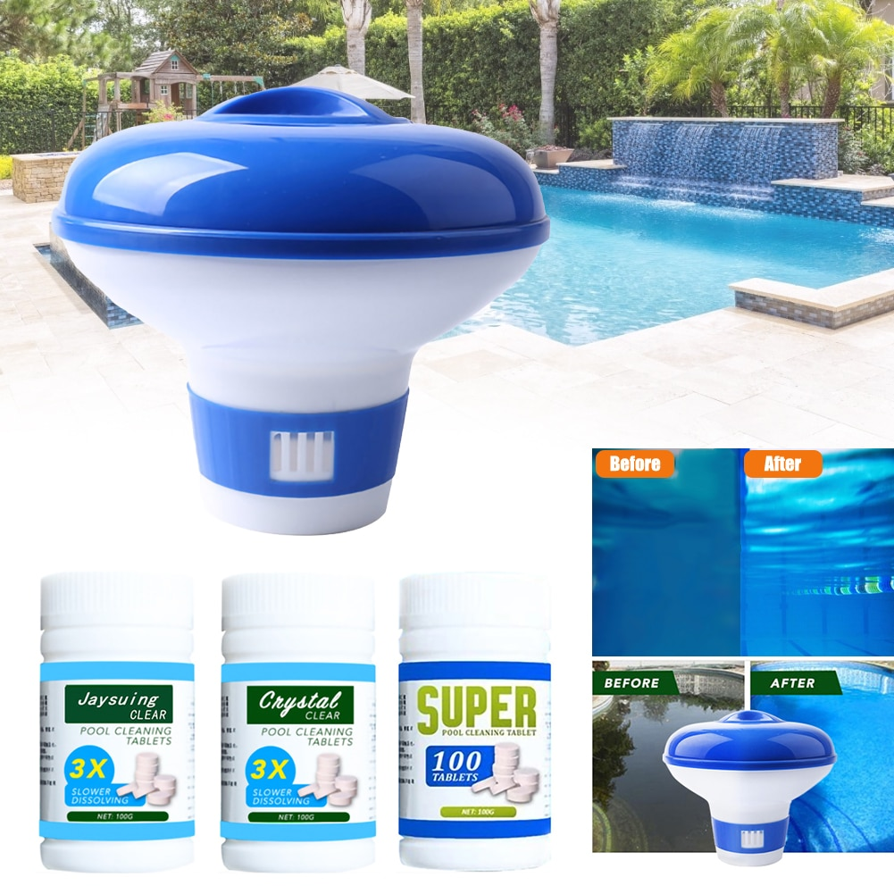 100pcs Tablets Disinfection Pills Swimming Pool Chlorine Tablets Instant Effervescent Pipes Cleaning Floating Pool Dispenser