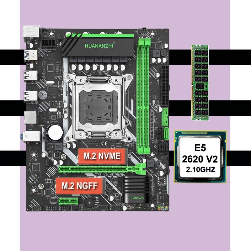 Famoso placa base de marca en venta HUANANZHI X79 LGA2011 placa base con CPU Intel xeon E5 2620 V2 RAM 8G DDR3 1600 REG ECC