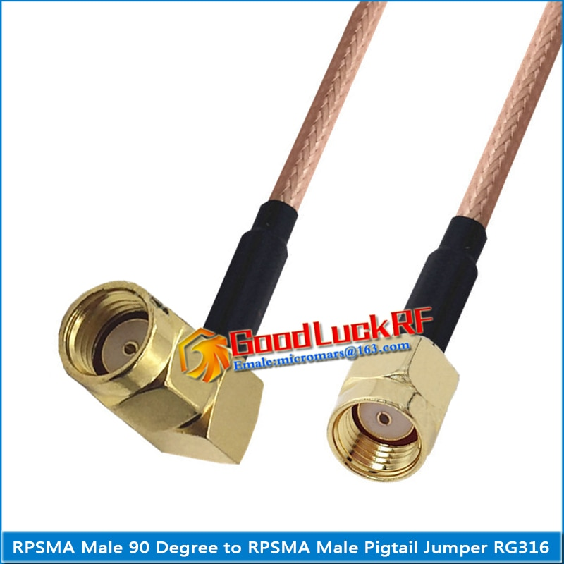 1x pcs high quality sma male to rp sma rpsma rp sma male plug coaxial pigtail jumper rg316 cable gold low loss sma to rpsma 1X Pcs Dual RP SMA Male to RPSMA RP-SMA RP SMA Male 90 Degree Right Angle plug Coaxial Pigtail Jumper RG316 Cable