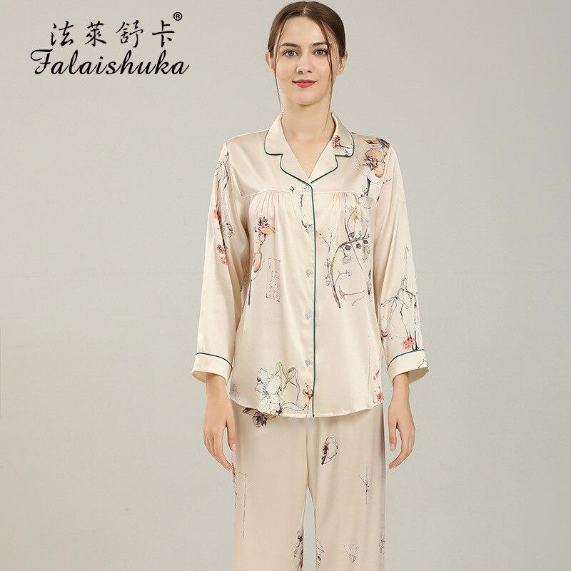 Woman Silk Stain  Pajamas Sets  Homewear Floral Print Two Pieces Set  2021  Full Sleeve Lady Silk Home Wear Sleepwears