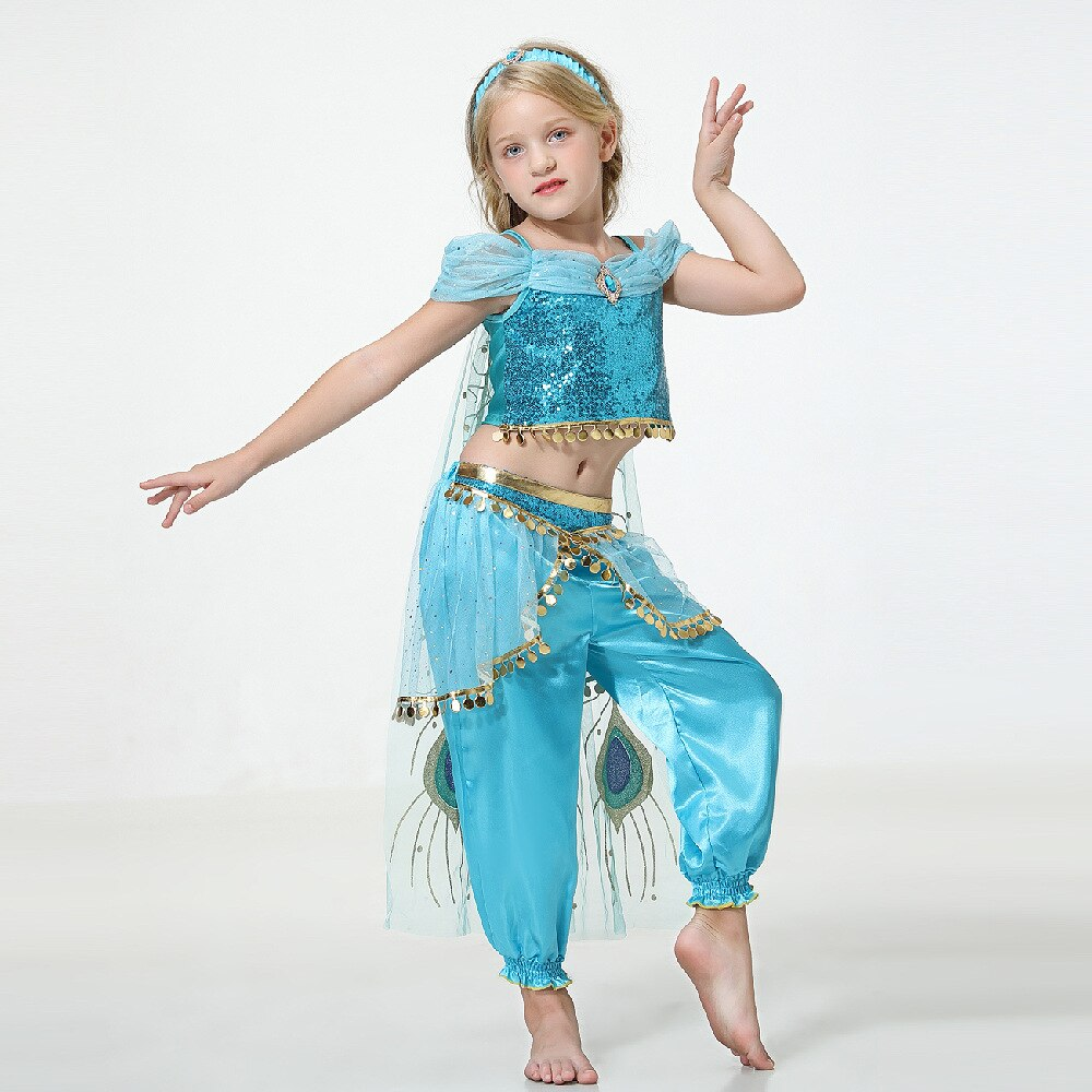 Costume de jasmin robe de princesse Cosplay robe de danse dété pour filles lampe daladdin Costume de Cosplay magique Costume de Performance de noël