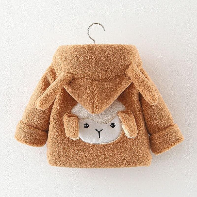 Menoea Baby mädchen Jacke Winter Nette Kinder Kinder Casual Oberbekleidung Dicke Fleece Mäntel Warme Mädchen Cartoon Schafe Mit Kapuze Jacken