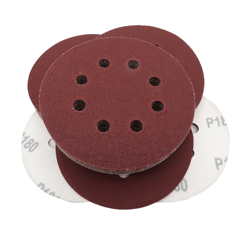 10pcs 5 pollici 125mm 8 fori 60-1200 grana forma rotonda dischi abrasivi foglio di lucidatura carta vetrata 8 fori levigatrice lucidatura pad