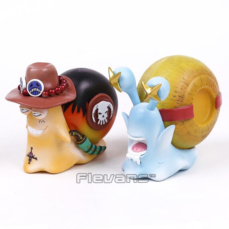Anime One Piece Luffy + Ace Den Den Mushi telefon PVC figurki zabawki 2 sztuk/zestaw