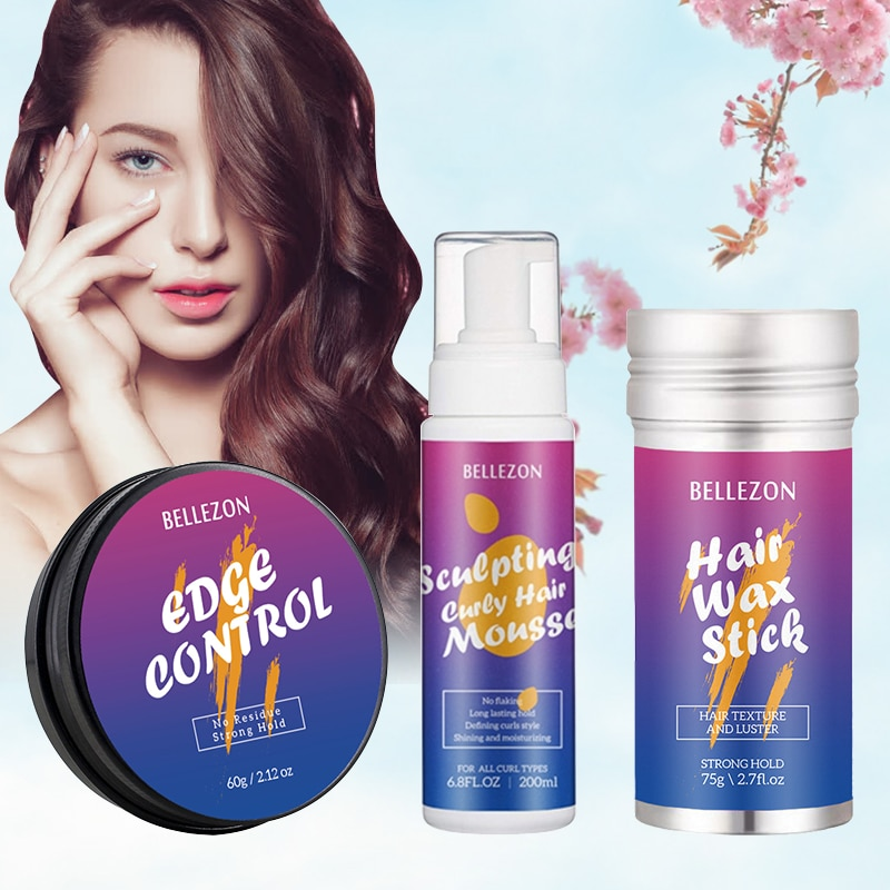 3pcs NEW Refreshing Hair Wax Cream Strong Hold Hair Finishing Anti-Frizz Fixative Hair Wax Stick Hair Styling Cream