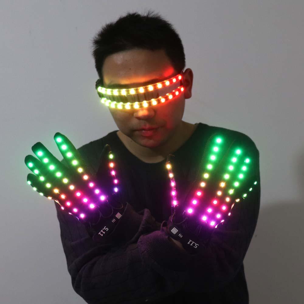 LED توهج قفازات الهذيان وامض إصبع الإضاءة نظارات تضيء نظارات الهذيان زي حفلة ديكور DJ النظارات الشمسية هالوين ديكورتي