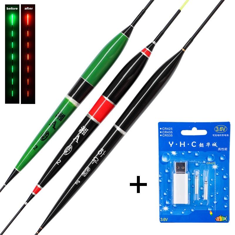 1 Set Intelligent Led Luminous Fishing Float + USB Charger Rechargeable CR425 Battery Fish Bite Alarm Remind Night Fishing B394