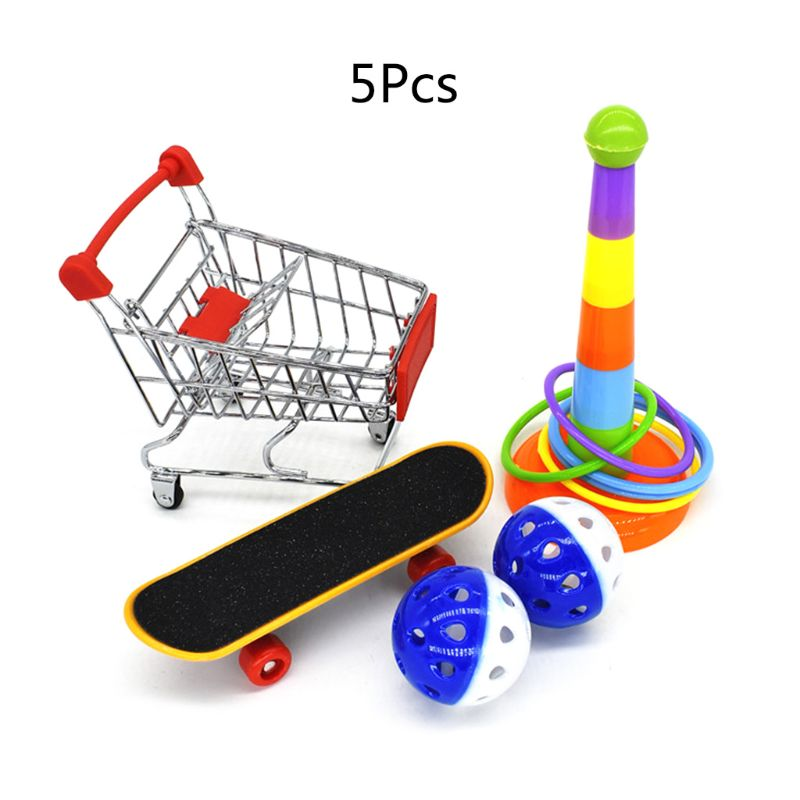 5 unids/set de juguetes de entrenamiento para loros, Mini carrito de compras, anillos de entrenamiento, soporte de patineta, percha, juguete para masticar, suministro de aves y cacatúa C42