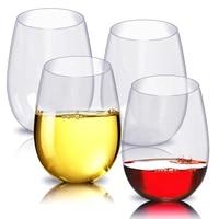 4pcset shatterproof plastic wine glass unbreakable red wine tumbler glasses cups reusable transparent beer cup fruit juice cup