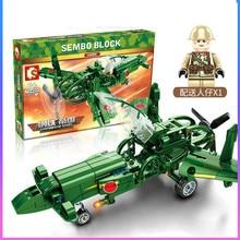 Technic Building Blocks Toys For Children Plane Military Fighter WW2 Army Arma Weapon Trooper Mini figures Idea Model Kit Brick
