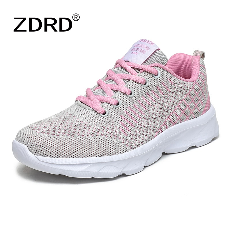 Women's Sneakers Air Mesh Woman Autumn Shoes Lace up Walking Spring Tennis Female Knitting Breathabl
