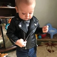boys pu jacket 1 7 years old childrens motorcycle fashion diamond quilted zipper girls coat cool spring autumn big name selling