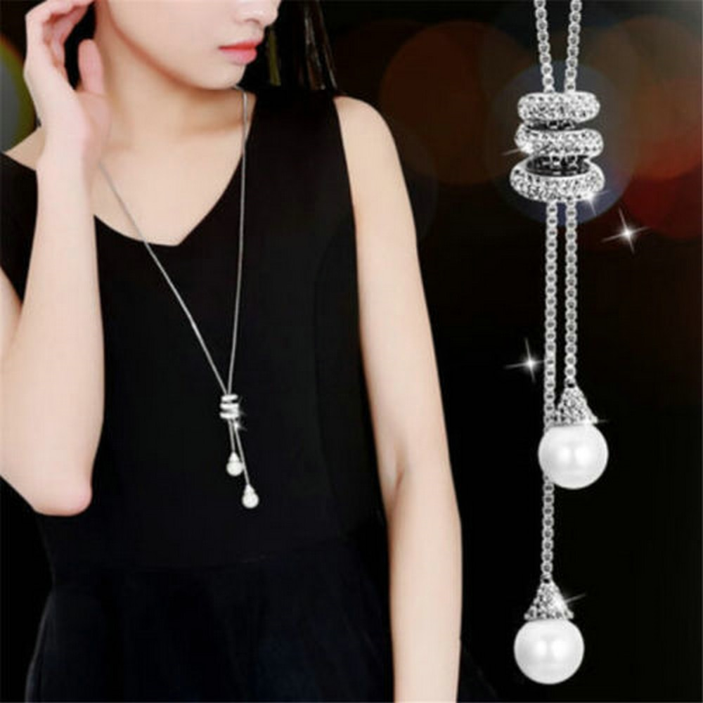 2020 NEW High Quality Fashion Metal Long Tassel Rhinestone Crystal Pearl Long Chain Necklace Sweater
