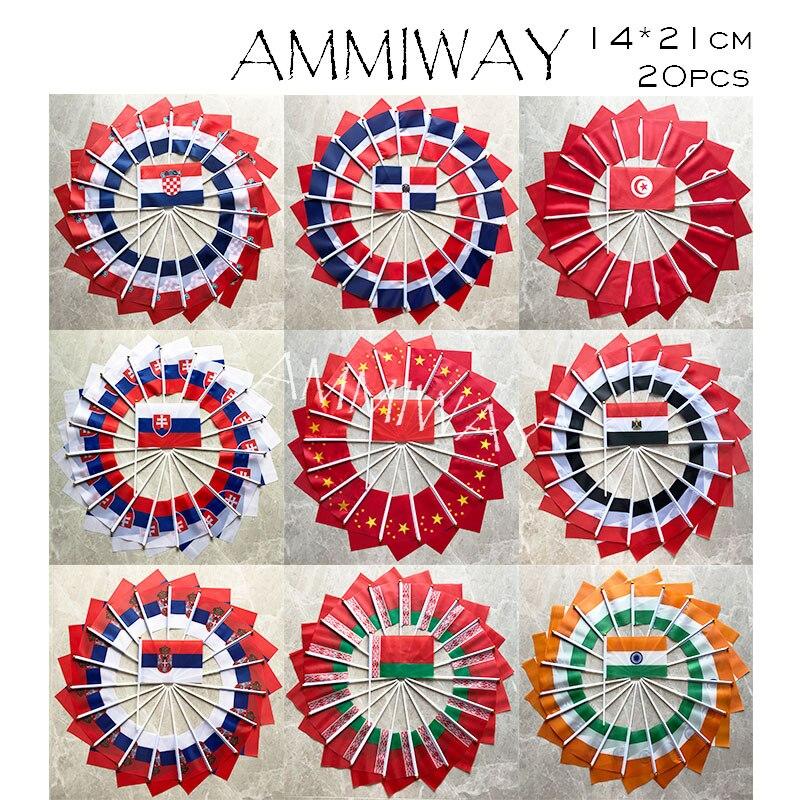 Ammiway 14x21cm 20 pçs croácia república dominicana tunísia eslováquia china egito sérvia bielorrússia índia nacional pequeno mão bandeiras