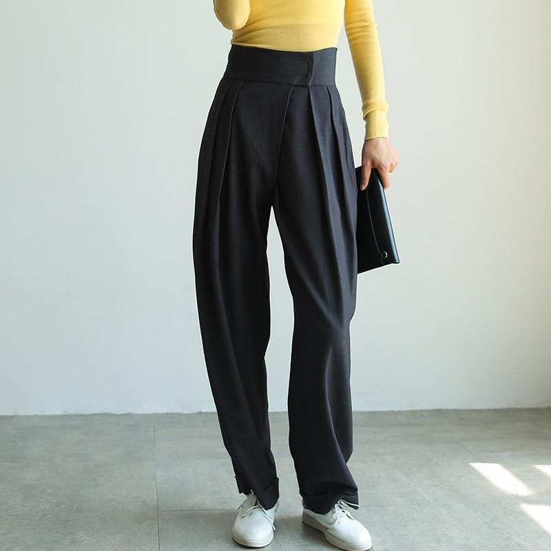 Johnature Streetwear Casual High Waist Women Pants Autumn Winter 2020 New Loose Pleated 2 Colors Wide Leg Pants Female Trousers