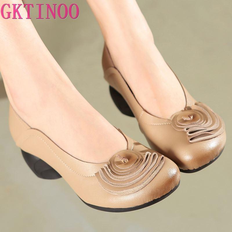 GKTINOO-حذاء نسائي من الجلد الطبيعي بكعب عالٍ بتصميم زهرة ، أحذية مكتبية ، صناعة يدوية ، خريف