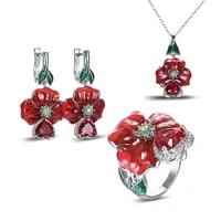 female elegant enamel flowers red gem crystal stone necklaces earrings rings for women love heart shape ruby jewelry sets