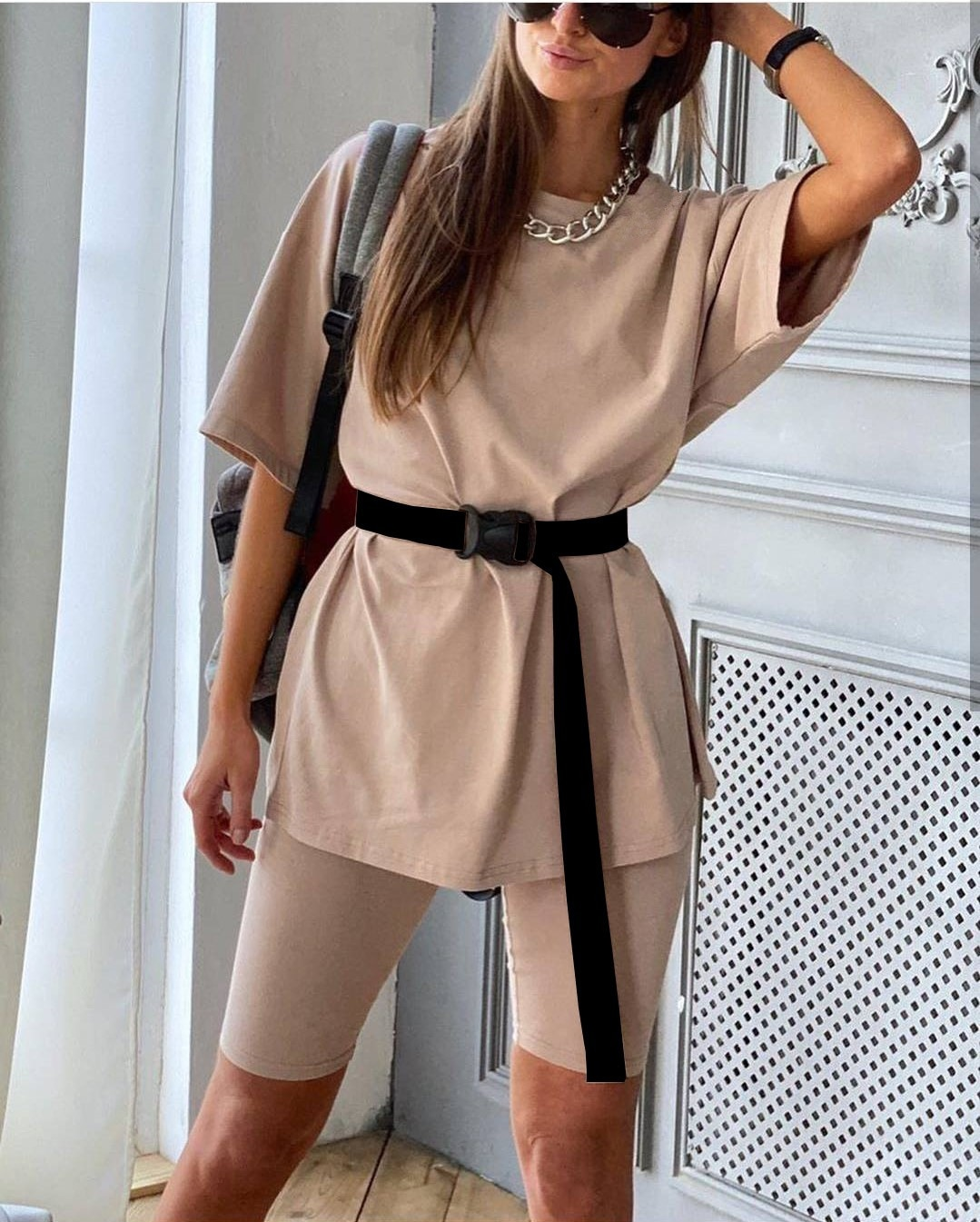New Style Fashion Casual Two Piece Set Loose Short Sleeves O Neck Jogging Shorts Sportswear Female Sport Suits