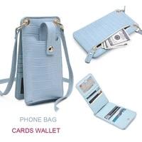 newest ins hot sales phone bag wallet pouch crocodile pattern leather shoulder bag leathr strap cards bag for phone