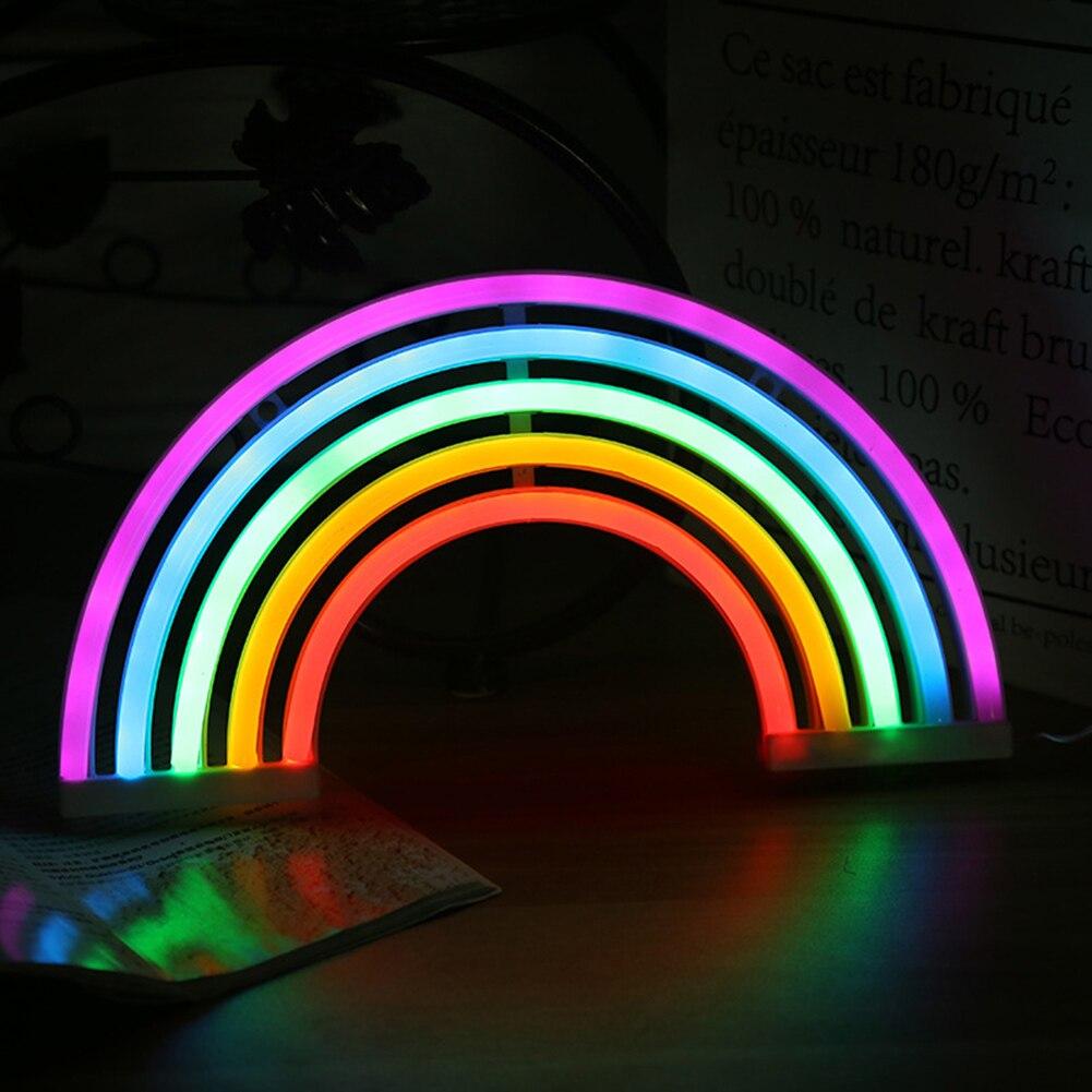 Luz LED nocturna de neón con forma de arcoíris, Lámpara decorativa alimentada por USB/batería para dormitorio infantil, lámpara de noche bonita
