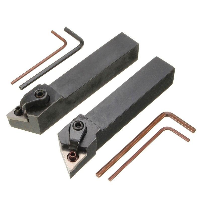 BMDT-2Pcs Mtjnl1616H16 Mtjnr1616H16 Lathe Turning Tool Holder 16X100Mm For Tnmg Insert Kit 4 Wrench+2 Boring Bar Set