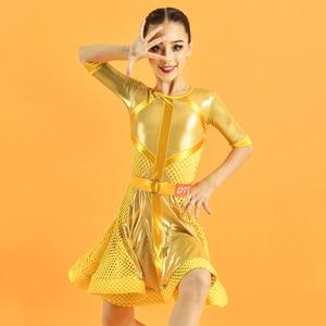 New Yellow Samba Competition Dresses Latin Dance Dress For Girls Designer Clothing Ballroom Dance Costume Tap Dance Wear  JL1712