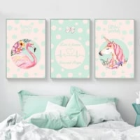 flamingo unicorn wall art canvas poster nordic nursery printmaking painting wall picture for living room modern home decoration