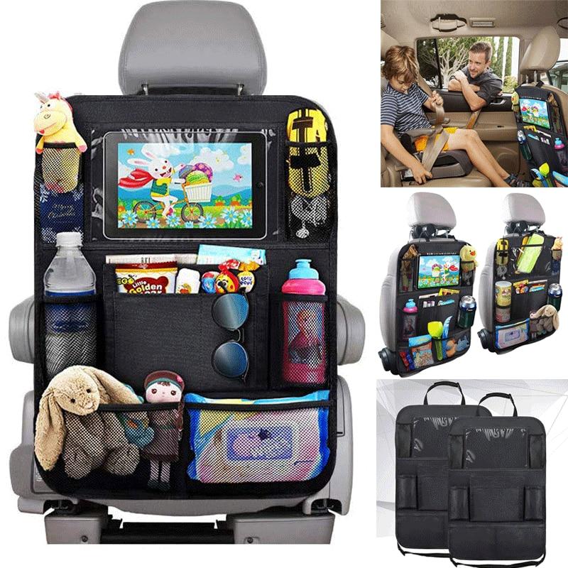 Organizador de asiento trasero de coche 9 bolsillos de almacenamiento con pantalla táctil soporte Protector de tableta para Niños Accesorios de coche