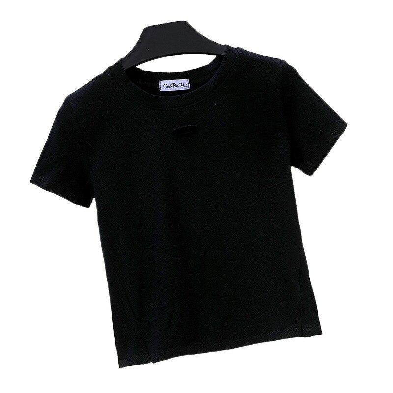 Women's T-shirt Crop Top Summer Shirt Cross Casual Solid T-Shirt O-neck Women Crop Top T-Shirt Cotton High Waist Camiseta Mujer